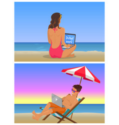 young girl and guy at beach do distant work set vector image