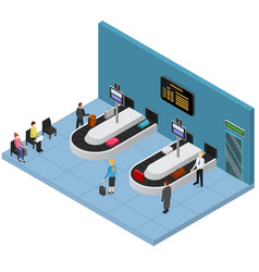 airport baggage reclaim interior isometric view vector image