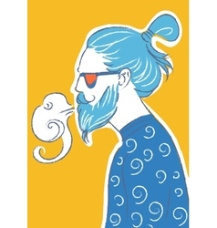 Art of hipster making vape cloud with e vector