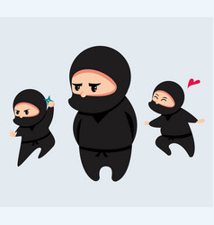 cute cartoon ninja set vector image
