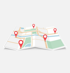 folded paper city map with red pin pointer vector image
