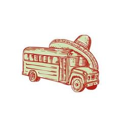 Sombrero school bus etching vector