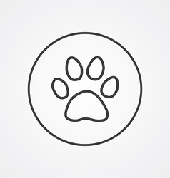 cat footprint outline symbol dark on white vector image