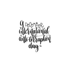 international anti-corruption day hand lettering vector image vector image