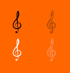 treble clef black and white set icon vector image vector image