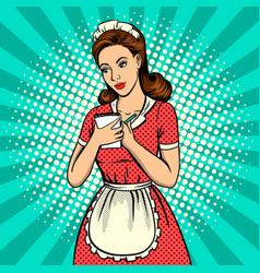 waitress woman pop art vector image vector image