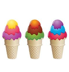 colorful icecream cones vector image