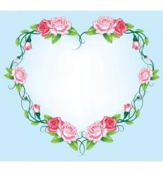 heart roses border vector image