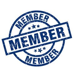 Member blue round grunge stamp vector