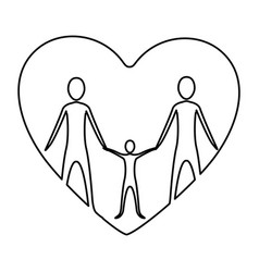monochrome contour of heart with family group vector image