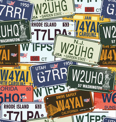 seamless background - retro auto licence plates vector image vector image