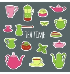 Set for tea party vector