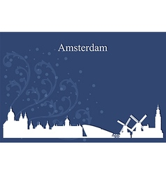 Amsterdam city skyline on blue background vector image vector image