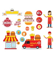 Burger shop graphic elements vector