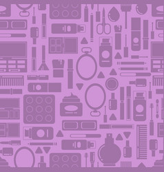 flat style makeup and skincare pattern or vector image