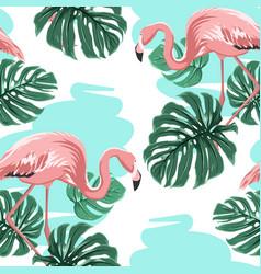 pink flamingos blue lake monstera leaves pattern vector image vector image