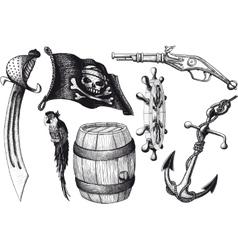 Pirate set attributes vector image