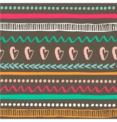 Seamless tribal pattern Colorful hand drawn vector image