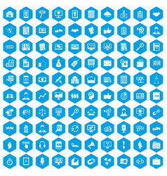 100 business training icons set blue vector