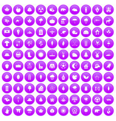 100 leaf icons set purple vector