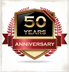 50 years anniversary golden label vector image