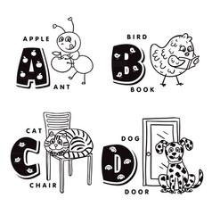 Alphabet letter a b c d depicting an ant bird vector
