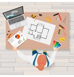 Architect construction engineering planning vector