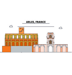Arles roman and romanesque monuments line travel vector