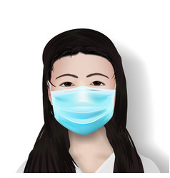 asia female doctor in protective mask on white vector image
