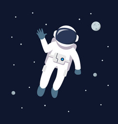 Astronaut man floating in space star and planets vector