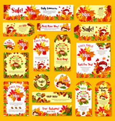 Autumn sale shop discount poster tag vector