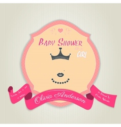 Baby shower invitation with princess with a crown vector