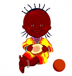 Baby with coconut vector