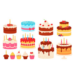 birthday cakes chocolate and pink cake with cream vector image