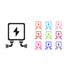 Black electric transformer icon isolated on white vector
