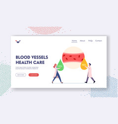 Blood vessel health care landing page template vector