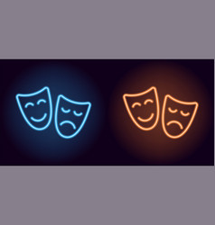 Blue and orange neon mask vector