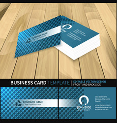 Blue business card template with a circle pattern vector