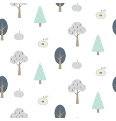 Blue forest seamless pattern with apples vector
