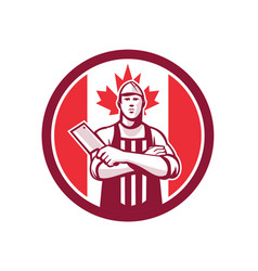 Canadian butcher front canada flag icon vector