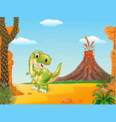 Cartoon happy tyrannosaurus dinosaur vector