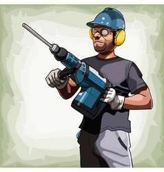 cartoon man in a helmet with a big drill vector image