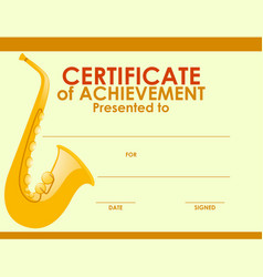 Certificate template with golden saxophone vector