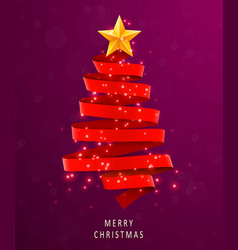 christmas tree made of red ribbon on pink vector image