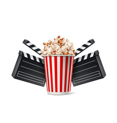 cinema poster popcorn cup and clapper board vector image