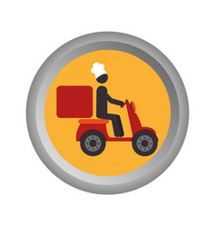 Circular emblem with delivery man in scooter vector