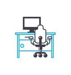 computer furniture linear icon concept computer vector image