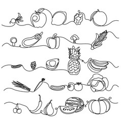 Continuous line fruits and vegetables design vector