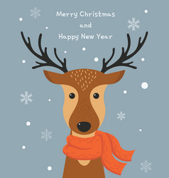 cute cartoon deer with scarf merry christmas and vector image