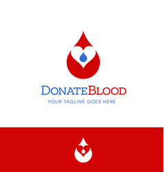 donate blood logo icon drop blood with heart vector image